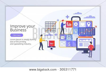 Creative Website Template Of Improve Your Business Concept, Modern Flat Design Vector Illustration