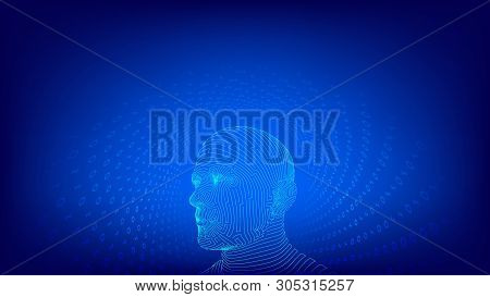 Ai. Artificial Intelligence Concept. Digital Brain. Abstract Human Face. Human Head In Robot Digital