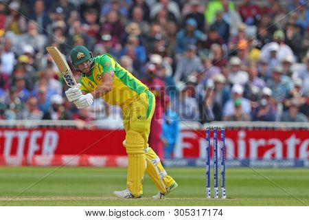 NOTTINGHAM, ENGLAND. 06 JUNE 2019: Nathan Coulter-Nile of Australia batting during the Australia against West Indies, ICC Cricket World Cup match, at Trent Bridge, Nottingham, England.