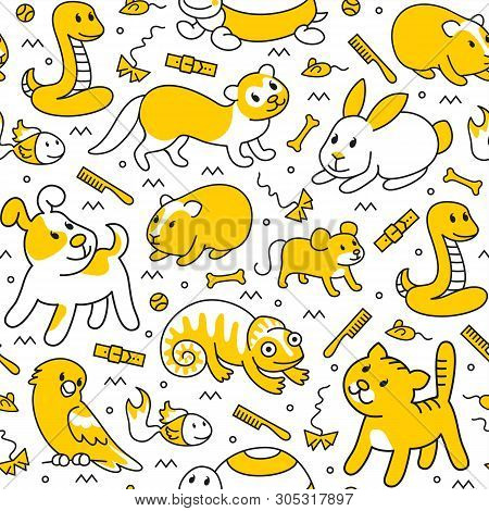 Pet Shop,doodle Pattern Background Of Pets, Cartoon Illustrations Animals In Line Style. Logo, Picto