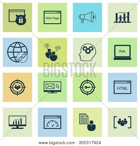 Seo Icons Set With Keyword Ranking, Email Marketing, Comprehensive Analytics And Other Connectivity