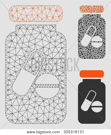 Mesh Drugs Phial Model With Triangle Mosaic Icon. Wire Carcass Polygonal Mesh Of Drugs Phial. Vector
