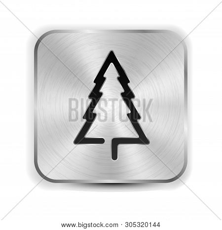Metallic Icon With Christmas Tree. Mettall Button.
