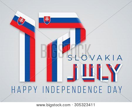 Congratulatory Design For July 17, Slovakia Independence Day. Text Made Of Bended Ribbons With Slova