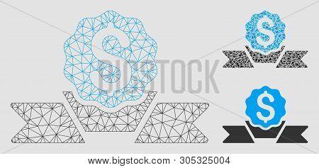Mesh Dollar Award Model With Triangle Mosaic Icon. Wire Carcass Triangular Mesh Of Dollar Award. Vec