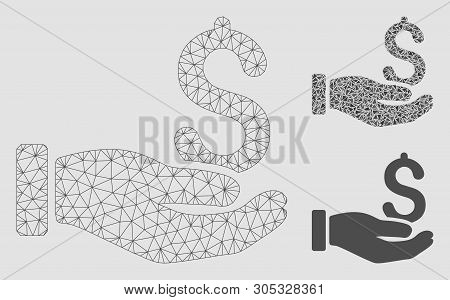 Mesh Earnings Hand Model With Triangle Mosaic Icon. Wire Frame Polygonal Mesh Of Earnings Hand. Vect