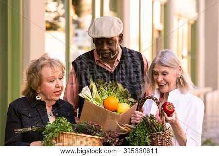 Seniors Looking Over Groceries From Farmers Market