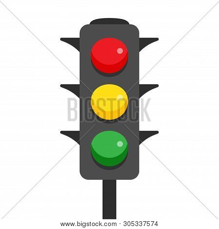 Traffic Light With Red, Yellow And Green Lamps. Semaphore Regulate Transportation On Crossroads Urba
