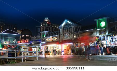 ATLANTIC CITY NEW JERSEY - Shops along the world famous board walkin night time on July 4, 2018 in Atlantic City New Jersey.