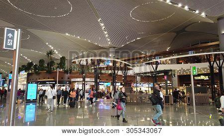 Istanbul, Turkey - April 19, 2019: Hall Of New Istanbul International Airport, Istanbul Yeni Havalim