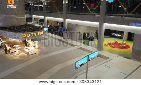 Istanbul, Turkey - May 7, 2019: Aerial View Of Duty Free Stores And Kids Area Playland Of New Istanb