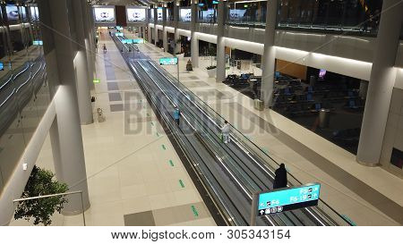 Istanbul, Turkey - May 7, 2019: Aerial View Of The Travelators For Quicker Transfer In Istanbul Inte