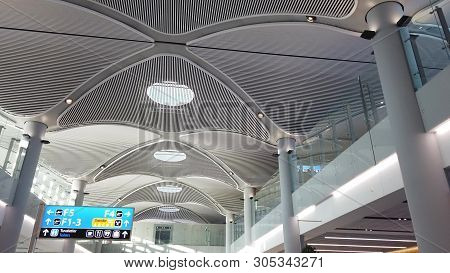 Istanbul, Turkey - May 7, 2019: Ceiling Architecture Of Istanbul International Airport, Istanbul Yen