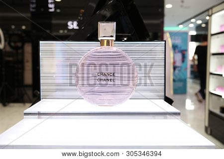 Large Beautiful Perfume Bottle Chanel Chance Eau Tendre. Moscow. 05.06.2019