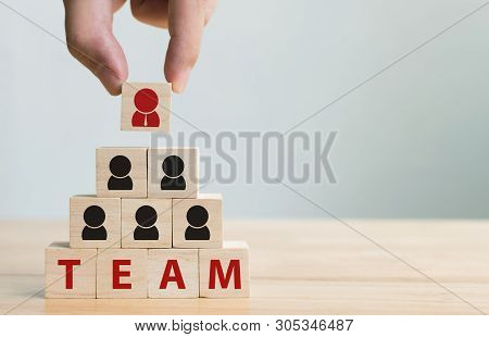 Human Resource Management And Recruitment Business Team Concept. Hand Putting Wood Cube Block On Top