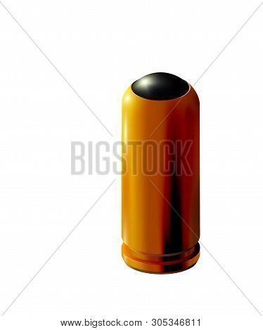 3d Golden Pistol Cartridge With Rubber Bullet Isolated For Traumatic Weapons. Realistic Gold Or Bras