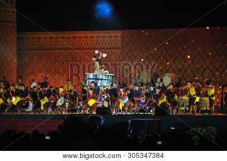 Bangkok, Thailand - 28 May 2019 : Artiste Have Drum Performance  Are Hit Local Ancient Drum And Cult