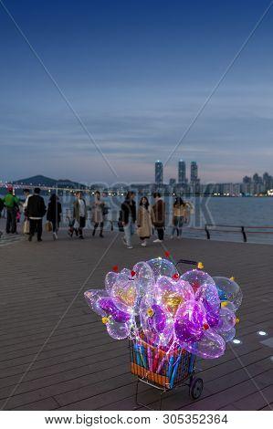 Busan, South Korea - April 2019: Led Light Balloons Sold At Gwangalli Beach, A Popular Tourist Desti