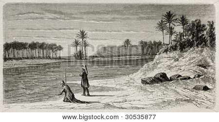 Super flumina Babylonis: old illustration of  Babylonian river inspired to Orlando di Lasso motet. Created by De Bar after Lejean, published on Le Tour du Monde, Paris, 1867