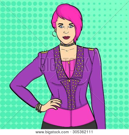 Pop Art Background. Young Girl Punk Subculture, Rockers. Imitation Comic Stich. Raster