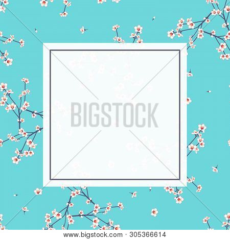 White Momo Peach Flower Banner On Indigo Blue Background. Vector Illustration.