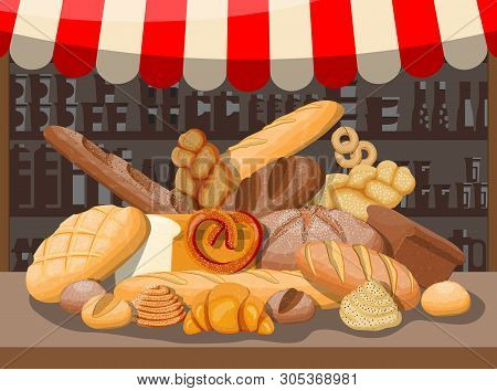 Bread In Wicker Basket And Market Stall. Whole Grain, Wheat And Rye Bread, Toast, Pretzel, Ciabatta,