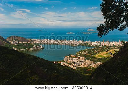 Rodrigo De Freitas Lagoon Seen From Christ The Redeemer Up In Corcovado Mountain, Rio De Janeiro, Br