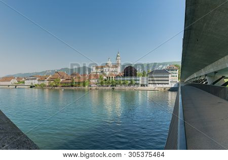 Solothurn, So / Switzerland - 2 June 2019: City Of Solothurn With The River Aare And A Panorama City