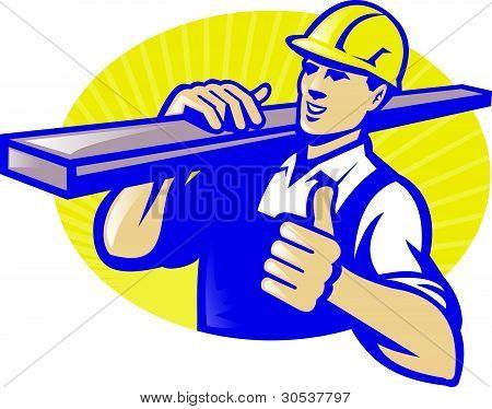 Carpenter Lumberyard Worker Thumbs Up