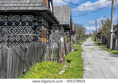Painted Folk Houses, Cicmany Village, Slovak Republic. Architectural Theme. Travel Destination.
