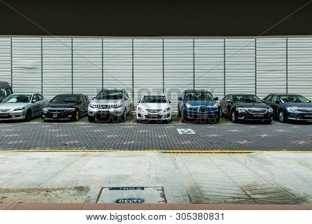 Singapore-jun 19 2017:singapore Residential Area Hdb Car Park Front View