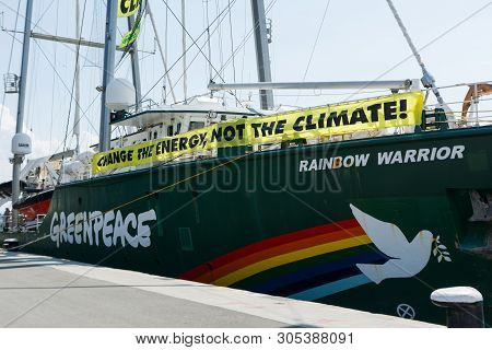 Burgas, Bulgaria - June 7, 2019: Greenpeace Rainbow Warrior Sailing Ship At The Port Of Burgas, Bulg
