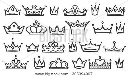 Hand Drawn Crown. Luxury Crowns Sketch, Queen Or King Coronation Doodle And Majestic Princess Tiara