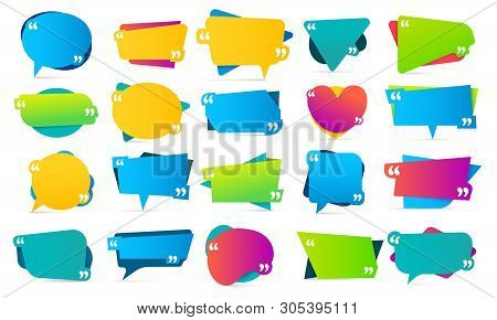 Color Quote In Quotes. Quotation Frames, Mention Remarks And Colorful Bubble Mention Message Templat