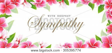 Postcard Sympathy Floral Pink Frangipani Or Plumeria Bouquet And Lettering