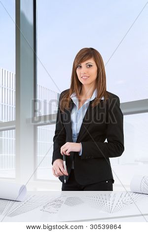 Attractive Business Woman In Office