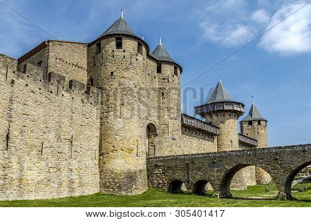 The Walled Medieval Fortress Cite De Carcassonne, Languedoc, France, Is On Unesco World Heritage Sit