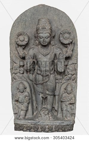 Archaeological Sculpture Of Surya From Tenth Century, Basalt, Bihar