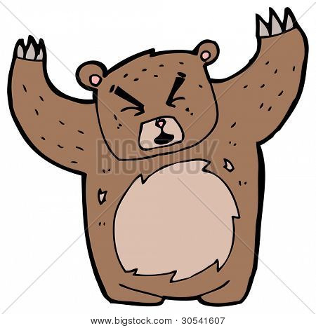 angry bear cartoon poster