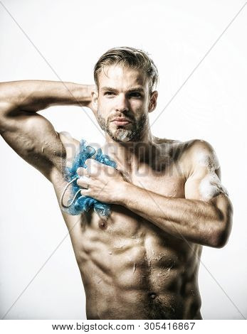 Daily Routine In Shower. Handsome Muscular Man At Shower. Cosmetic For Men. Men's Cosmetics For Body