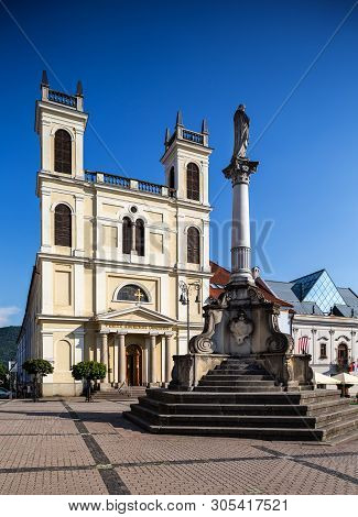 Banska Bystrica, Slovakia - August 07, 2015: St. Francis Xavier Cathedral On Main Square In Banska B