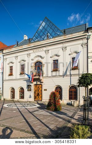 Banska Bystrica, Slovakia - August 06, 2015: Old Building Of Town Hall Of Banska Bystrica City In Sl