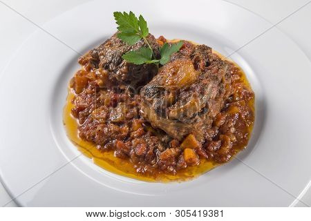 Dish With Portion Of Oxtail Stewed