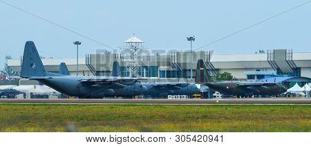 Langkawi, Malaysia - Mar 31, 2019. Military Aircrafts Docking At Langkawi Airport (lgk).