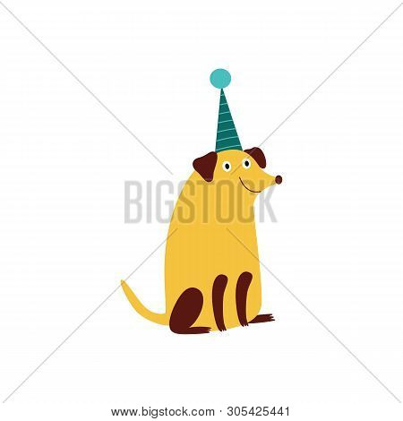 poster of A smiling pooch dog sits in a cone hat.