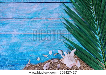 Beach Outfit Accessories On Bright Blue Background - Summer Holiday Banner, Beach Tourism Concept. S