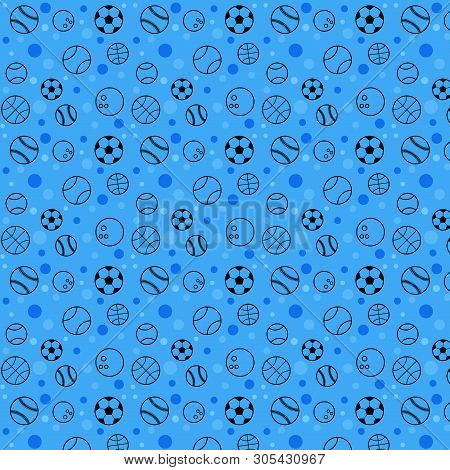 Vector Web Seamless Patern With Sport Balls Flat Style