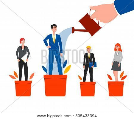 Career Success And Growth - Cartoon Business People Standing On Plant Pots And Chosen Employee Water