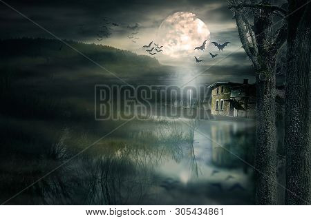 Halloween House With Moon And Bats. Old Ruined Sinister House By Night. Haunted House With Dark Scar