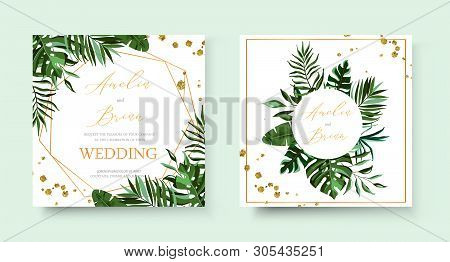 Wedding Tropic Exotic Summer Golden Geometric Triangular Frame Invitation Card Save The Date With Gr